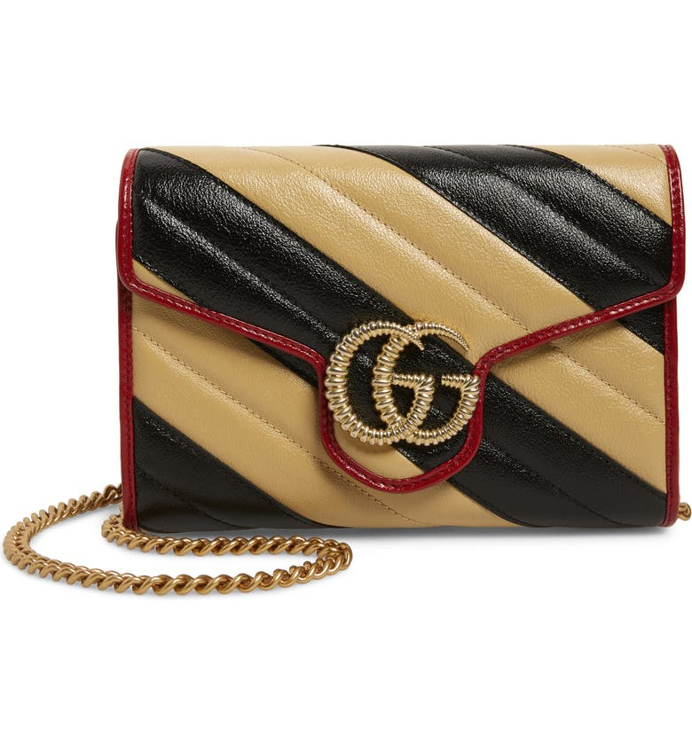 GUCCI GG Marmont Matelassé Leather Wallet on Chain, Main, color, NERO DIA BEIGE/ ROM CERISE