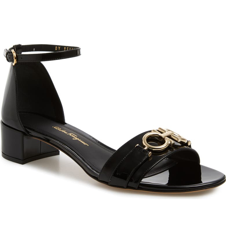 SALVATORE FERRAGAMO Como Gancini Sandal, Main, color, BLACK