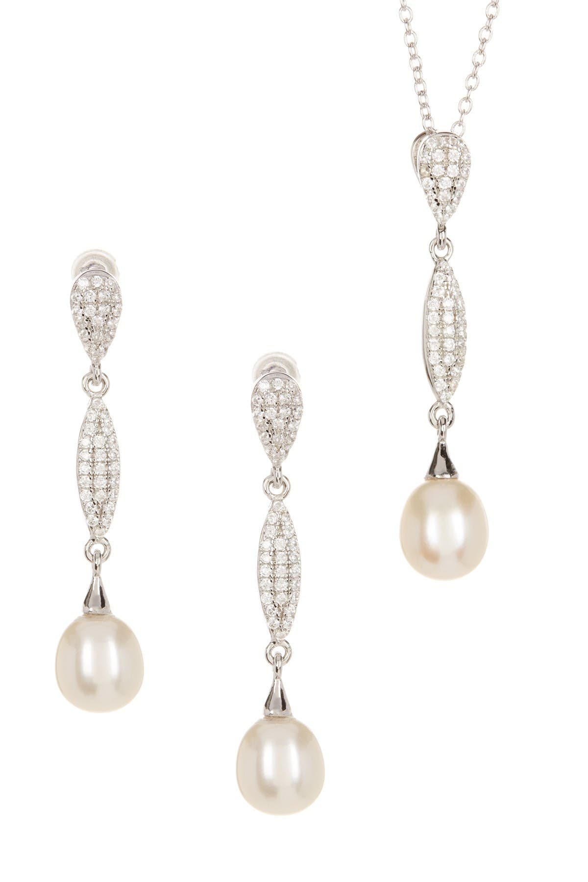 Image of Splendid Pearls 7.5-8mm White Freshwater Pearl & CZ Necklace & Dangle Earrings Set