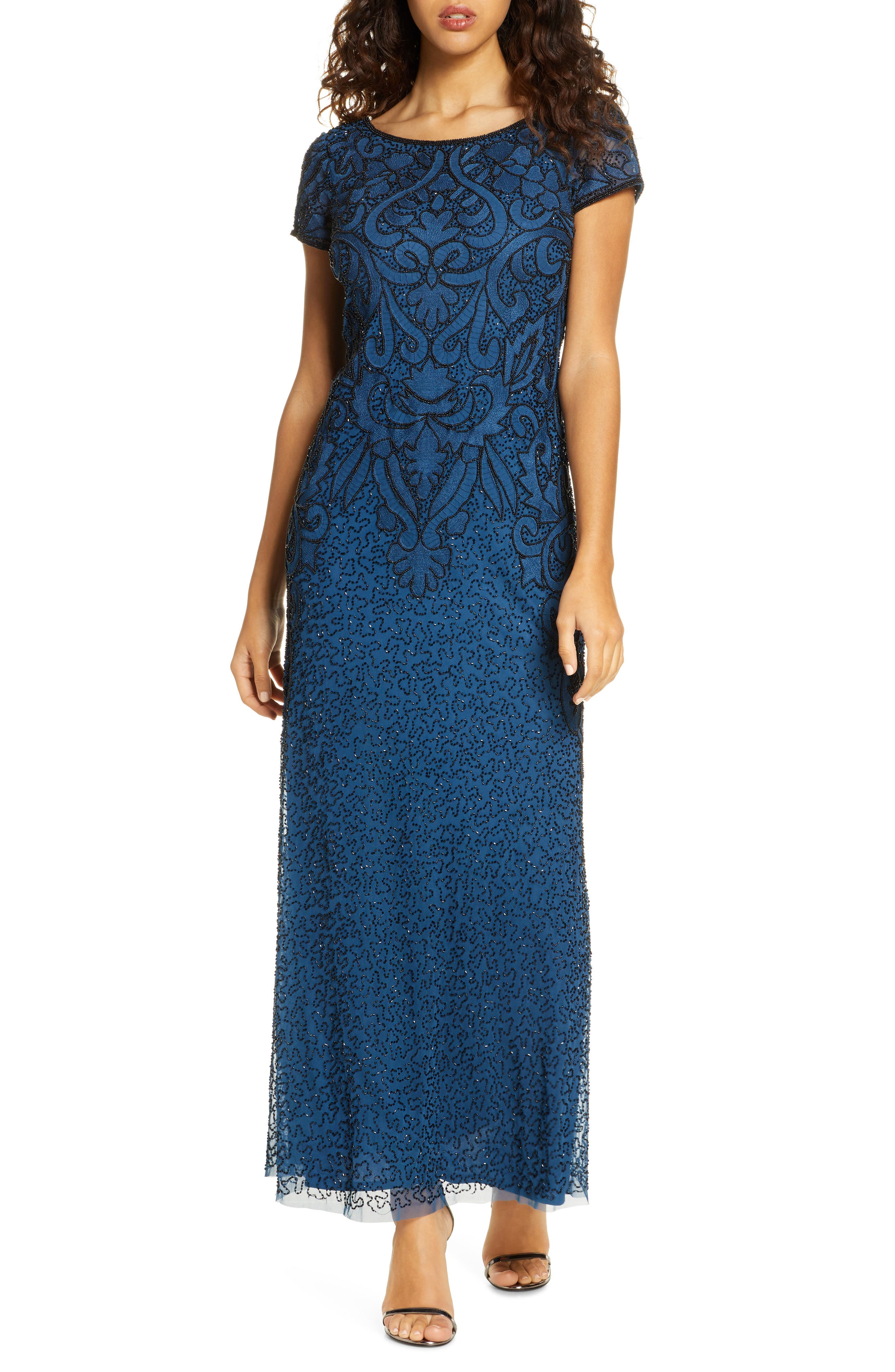 Art Deco Dresses | Art Deco Fashion, Clothing Womens Pisarro Nights Embroidered Mesh Gown Size 18 - Blue $238.00 AT vintagedancer.com