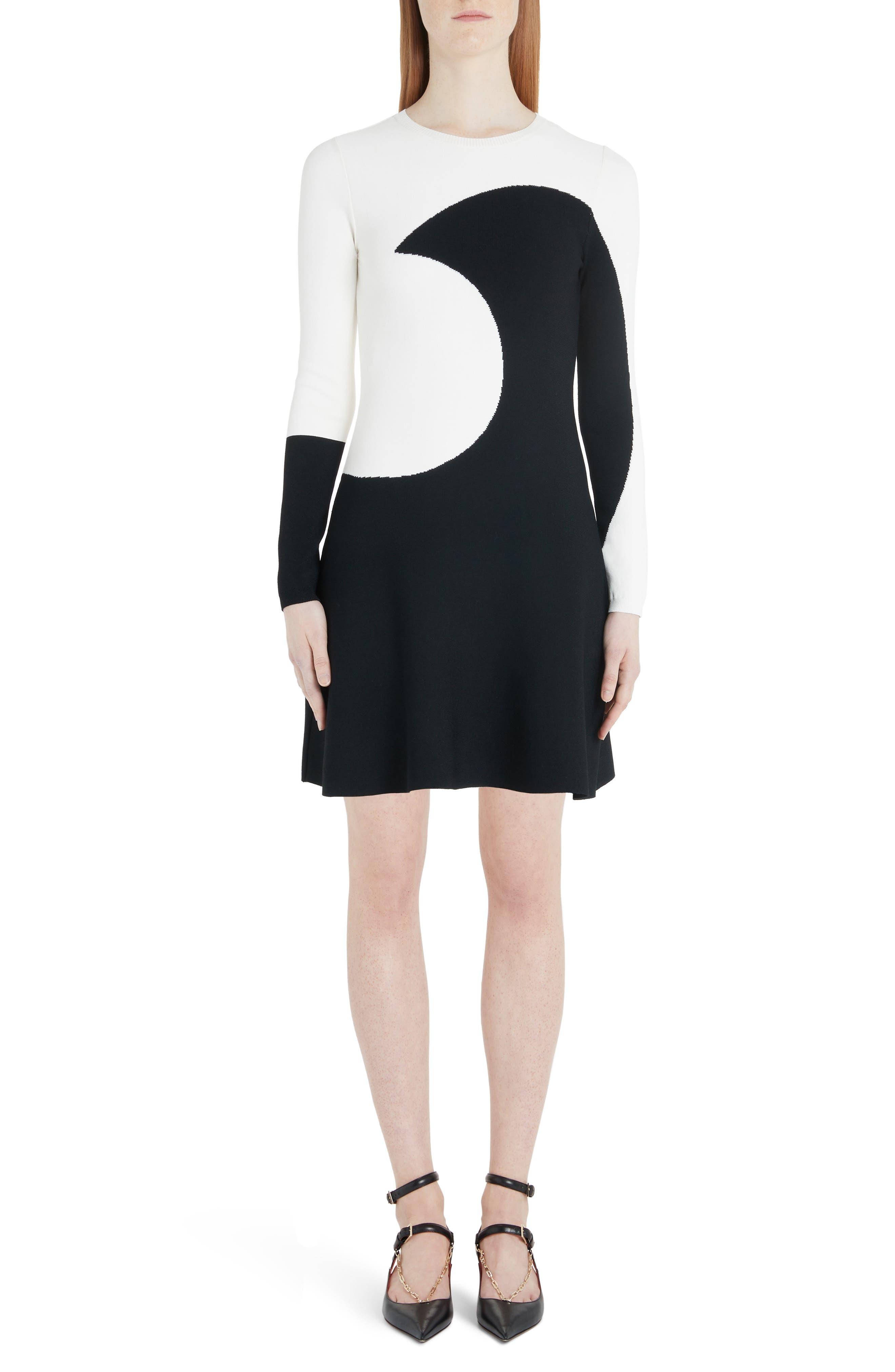 Valentino Moon Inlay Long Sleeve Sweater Dress, Ivory
