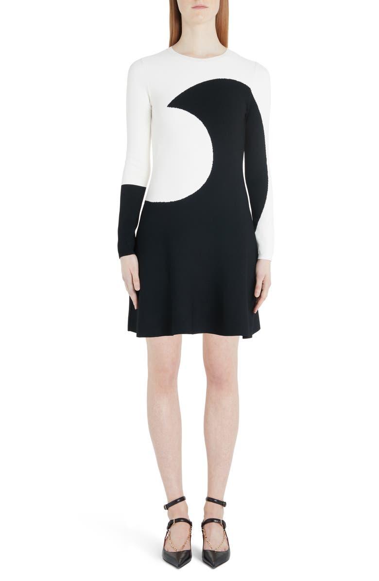 VALENTINO Moon Inlay Long Sleeve Sweater Dress, Main, color, 0AN-IVORY BLACK