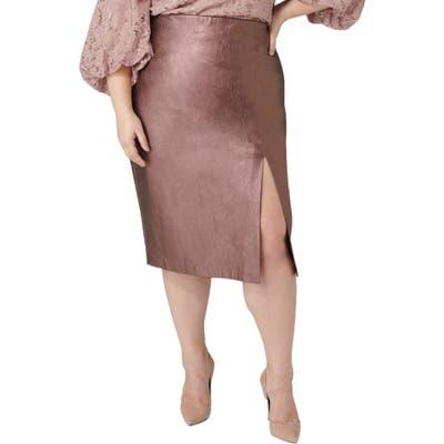 Plus Size Maree Pour Toi Metallic Faux Leather Pencil Skirt, Pink