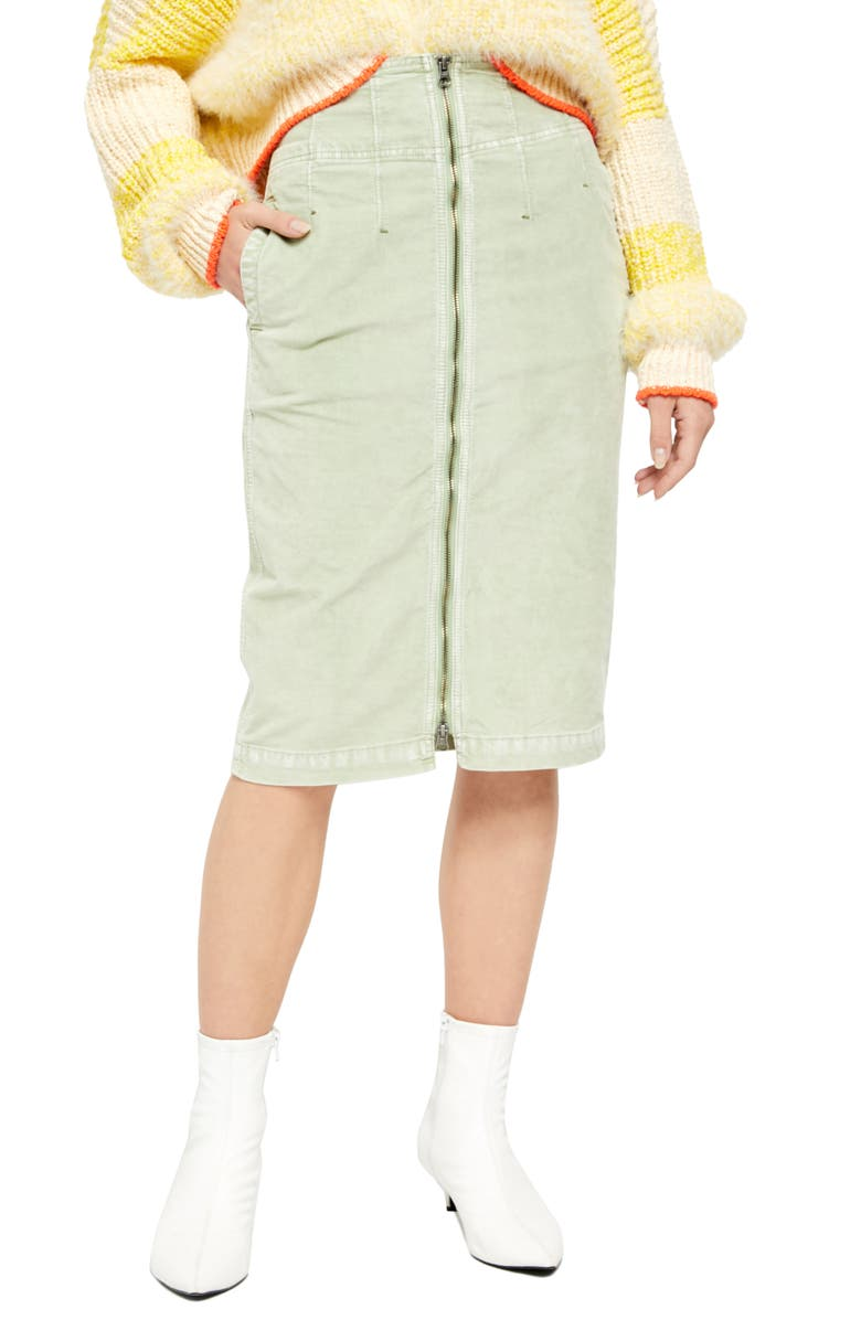 FREE PEOPLE I Want It All Cord Skirt, Main, color, MOSS