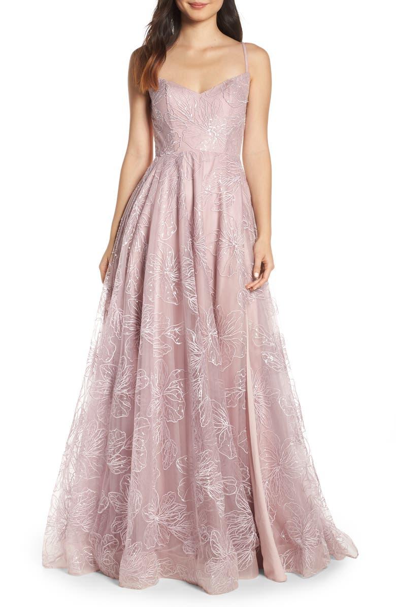 LA FEMME Metallic Floral Embellished Evening Dress, Main, color, MAUVE