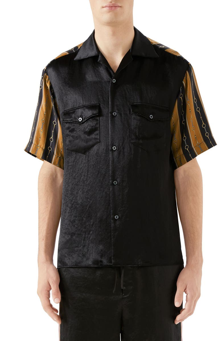 GUCCI Mixed Media Bowling Shirt, Main, color, BLACK MULTI COLOR