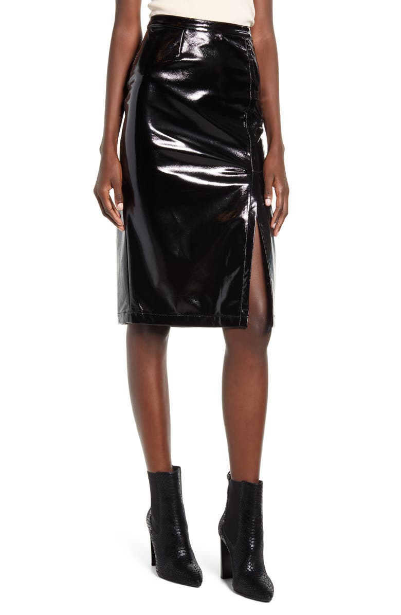 BLANKNYC Getaway Car Faux Leather Pencil Skirt, Main, color, 001