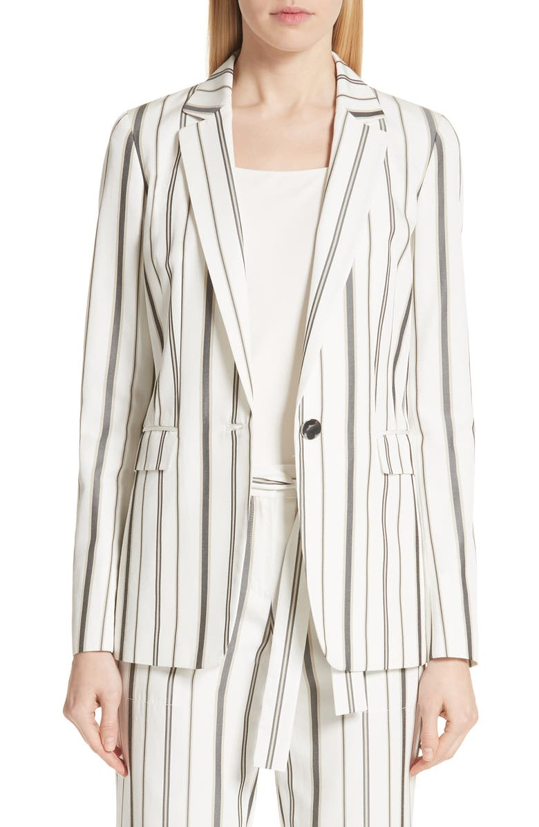 LAFAYETTE 148 NEW YORK Marie Stripe Silk Blend Blazer, Main, color, 129