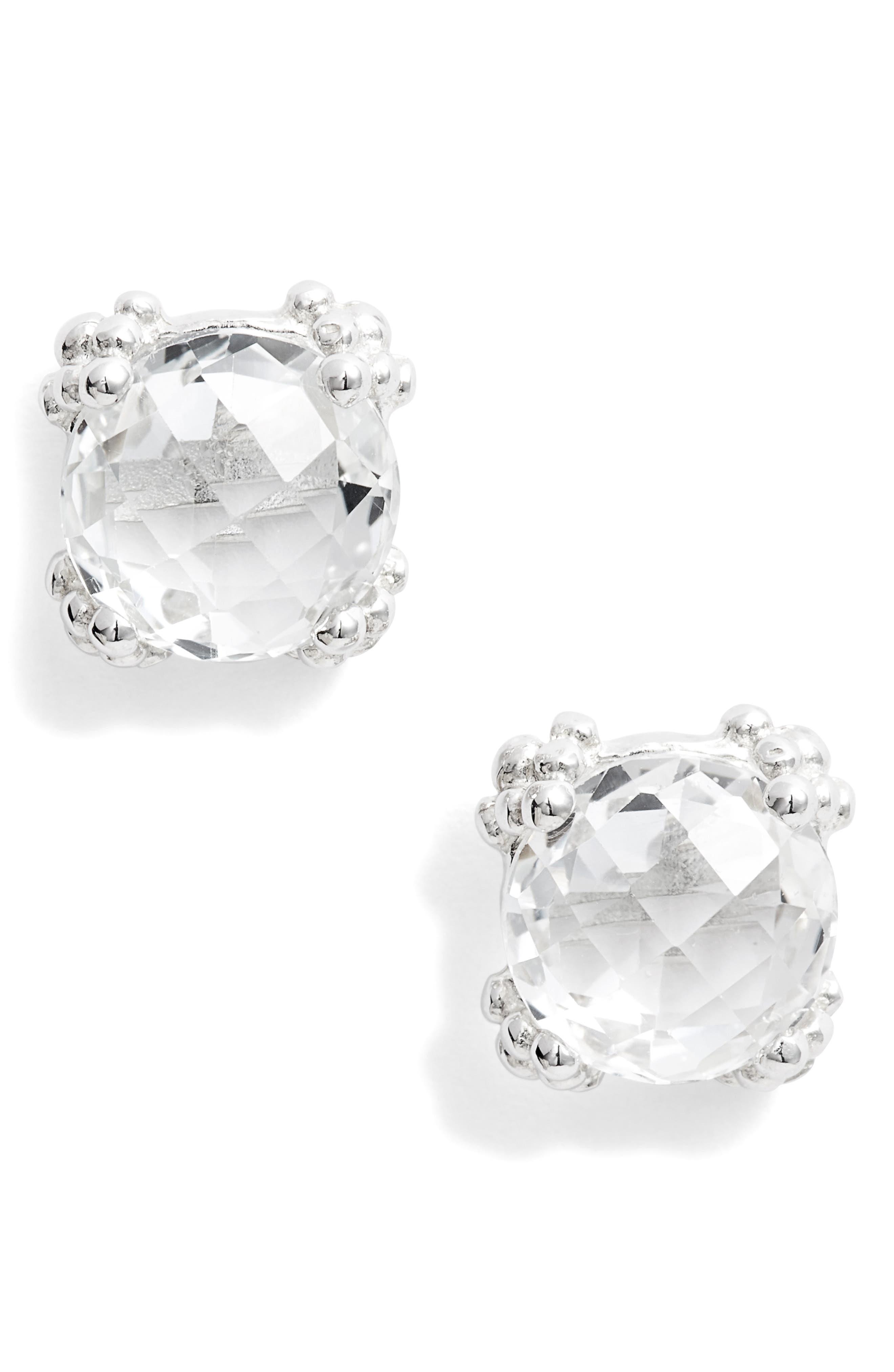 Dew Drop White Topaz Cluster Stud Earrings
