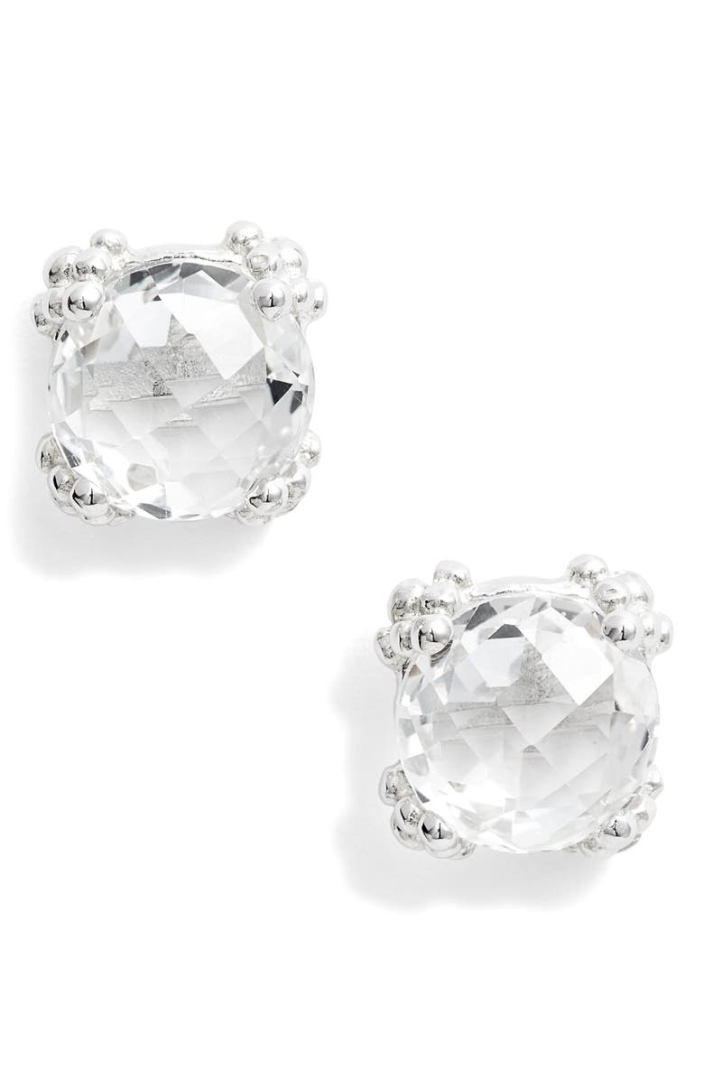 ANZIE Dew Drop White Topaz Cluster Stud Earrings, Main, color, SILVER/ WHITE TOPAZ