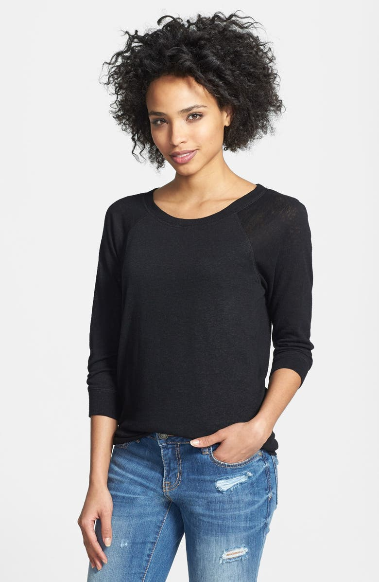 HALOGEN<SUP>®</SUP> Three Quarter Sleeve Jersey Sweater, Main, color, 001