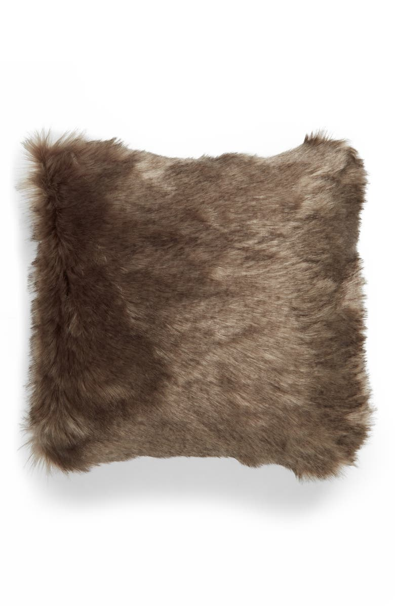 NORDSTROM Arctic Faux Fur Accent Pillow, Main, color, BROWN BRINDLE MULTI