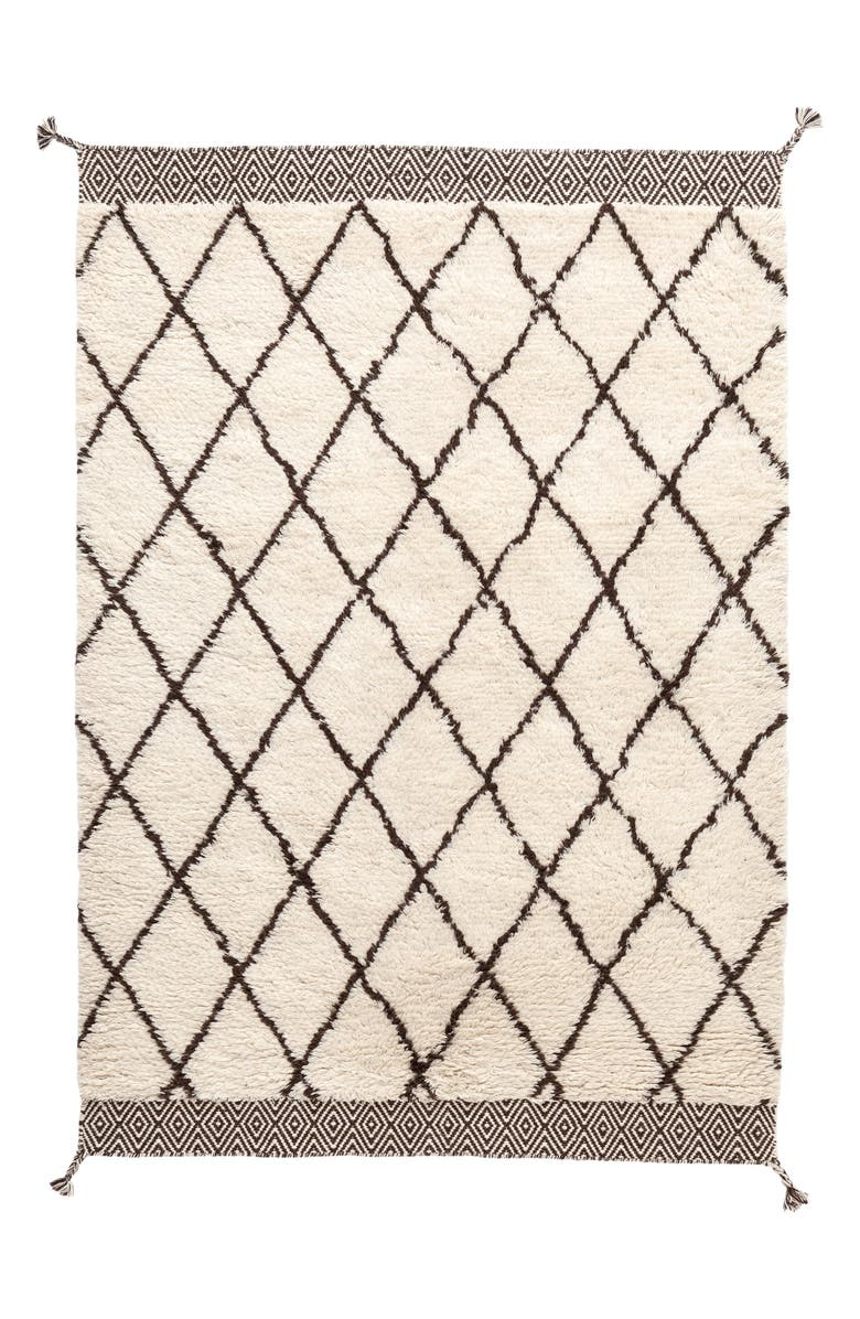 DASH & ALBERT Geo Print Wool Rug, Main, color, IVORY/ GREY