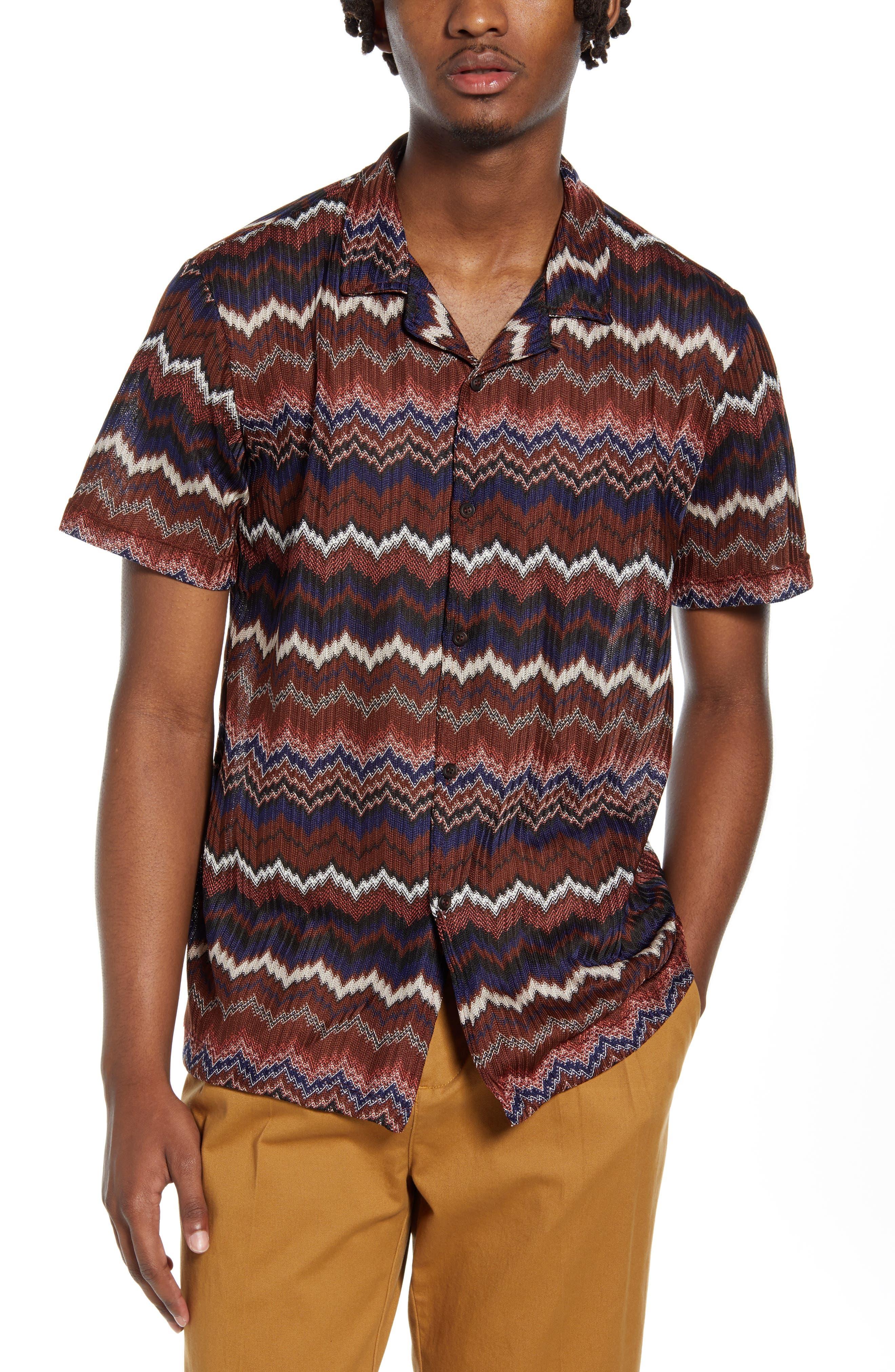 1960s – 70s Mens Shirts- Disco Shirts, Hippie Shirts Mens Topman Chevron Short Sleeve Button-Up Knit Camp Shirt Size Small - Brown $70.00 AT vintagedancer.com