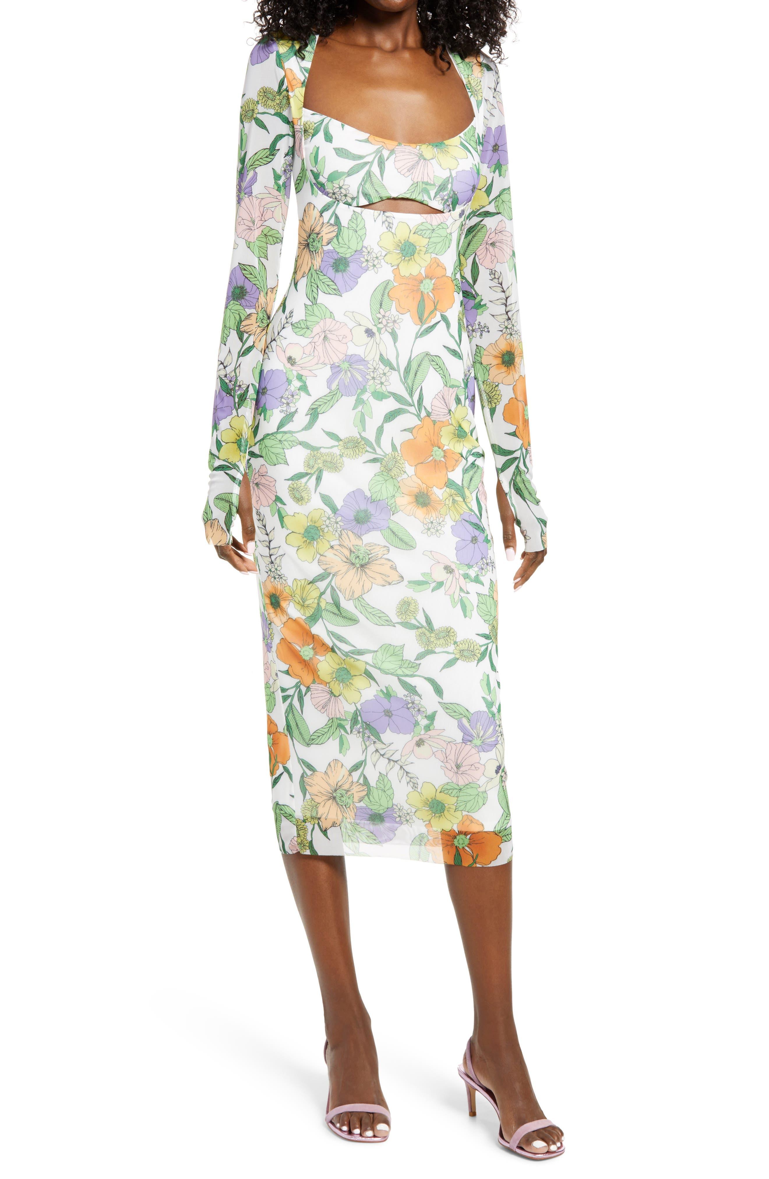 Kellen Cutout Long Sleeve Mesh Midi Dress