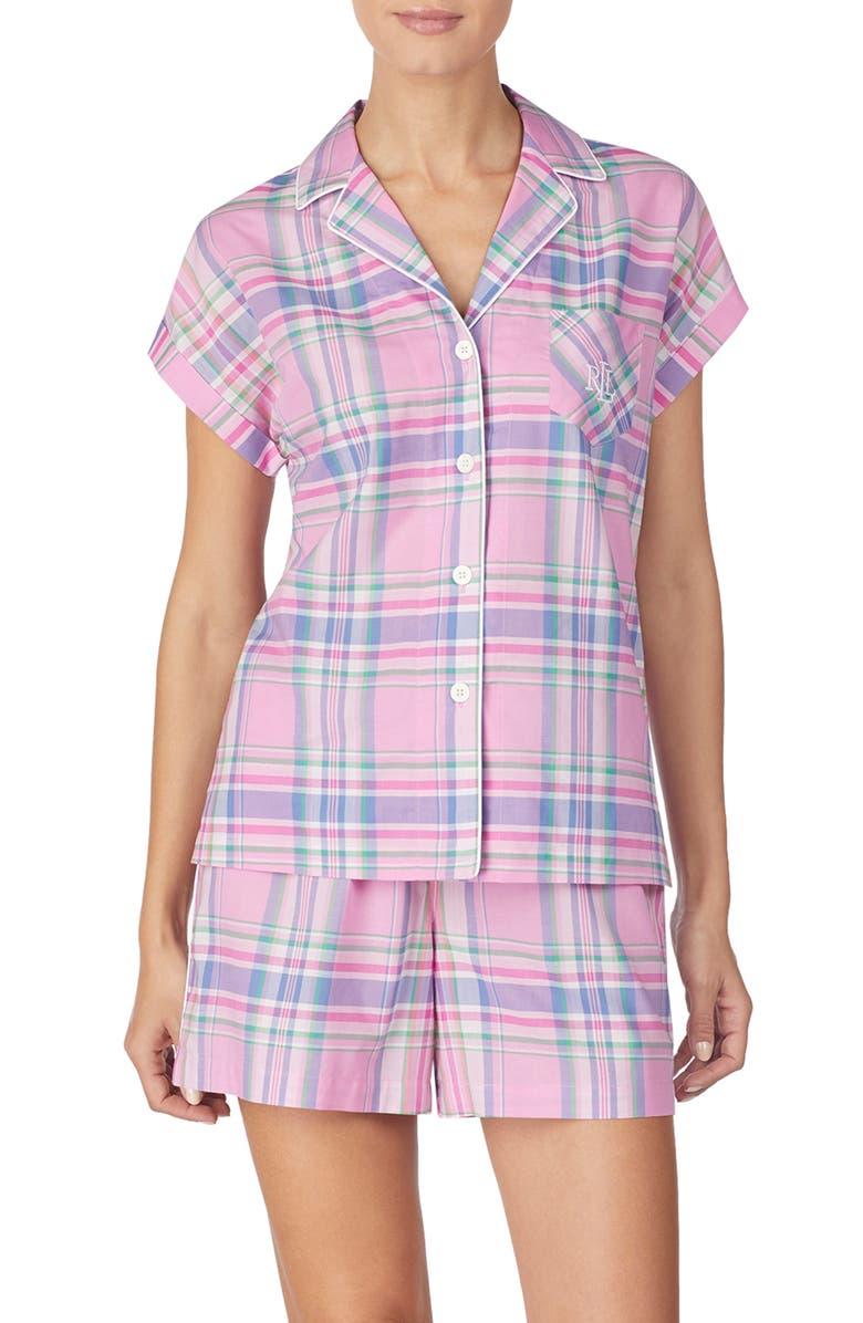 LAUREN RALPH LAUREN Plaid Short Pajamas, Main, color, 668