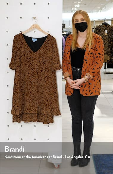 Leopard Print Ruffle Stretch Knit Dress, sales video thumbnail