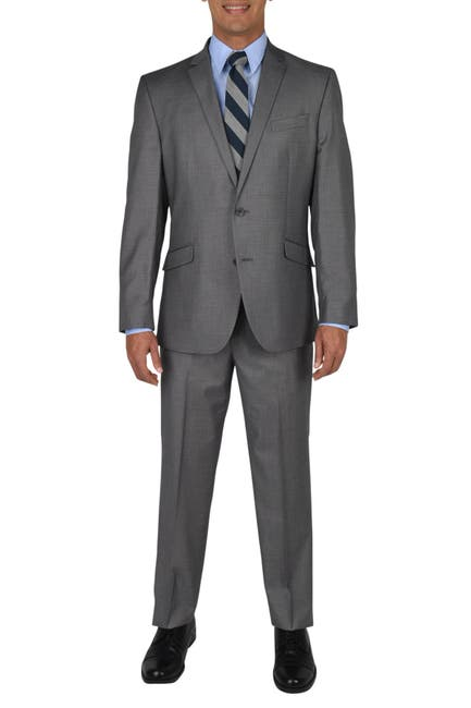 Image of Kenneth Cole Reaction Light Gray Basketweave Two Button Notch Lapel Slim Fit Suit
