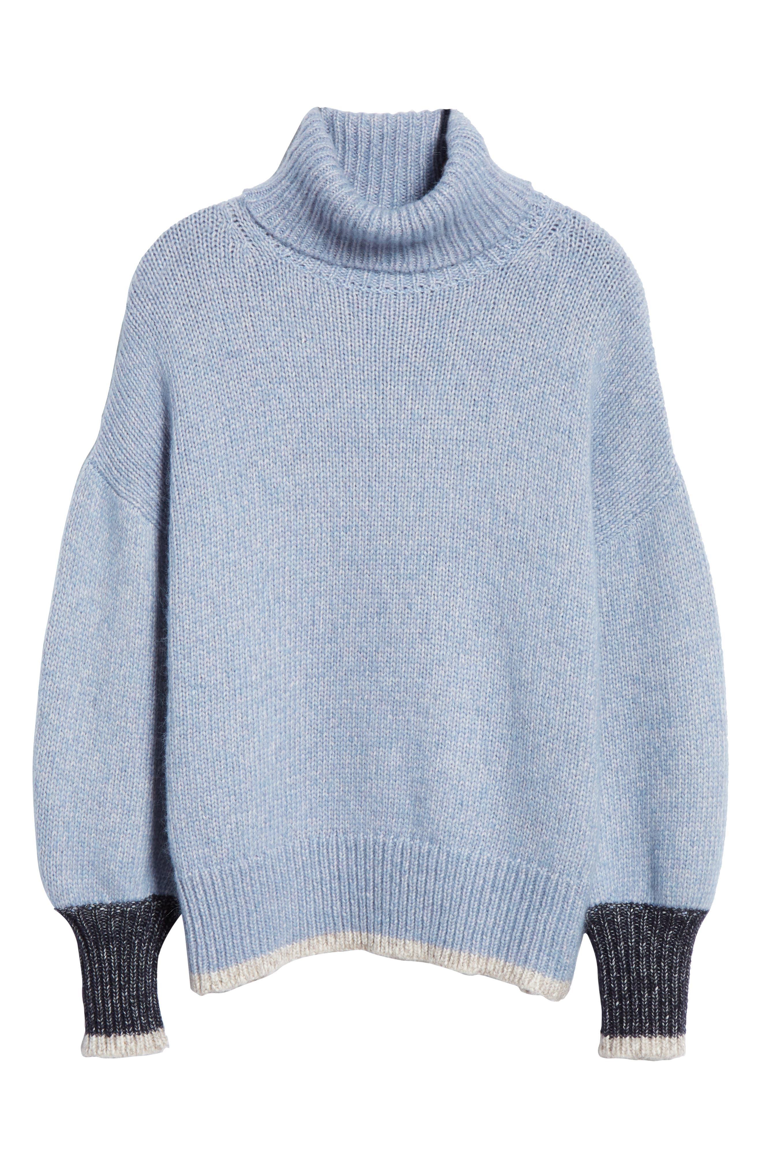 ,                             Oversize Turtleneck Sweater,                             Alternate thumbnail 6, color,                             LIGHT BLUE/ CREAM/ NAVY