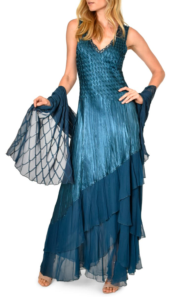 KOMAROV Beaded Charmeuse & Chiffon Gown with Wrap, Main, color, MOROCCAN BLUE