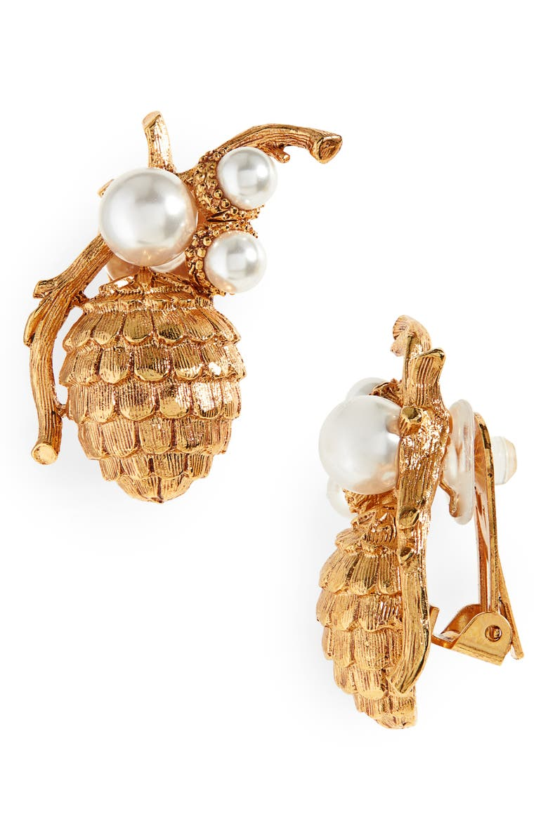 OSCAR DE LA RENTA Pinecone Earrings, Main, color, GOLD
