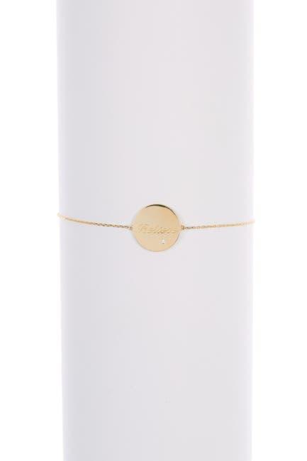 Image of Candela 10K Yellow Gold CZ 'Believe' Disc Adjustable Bracelet