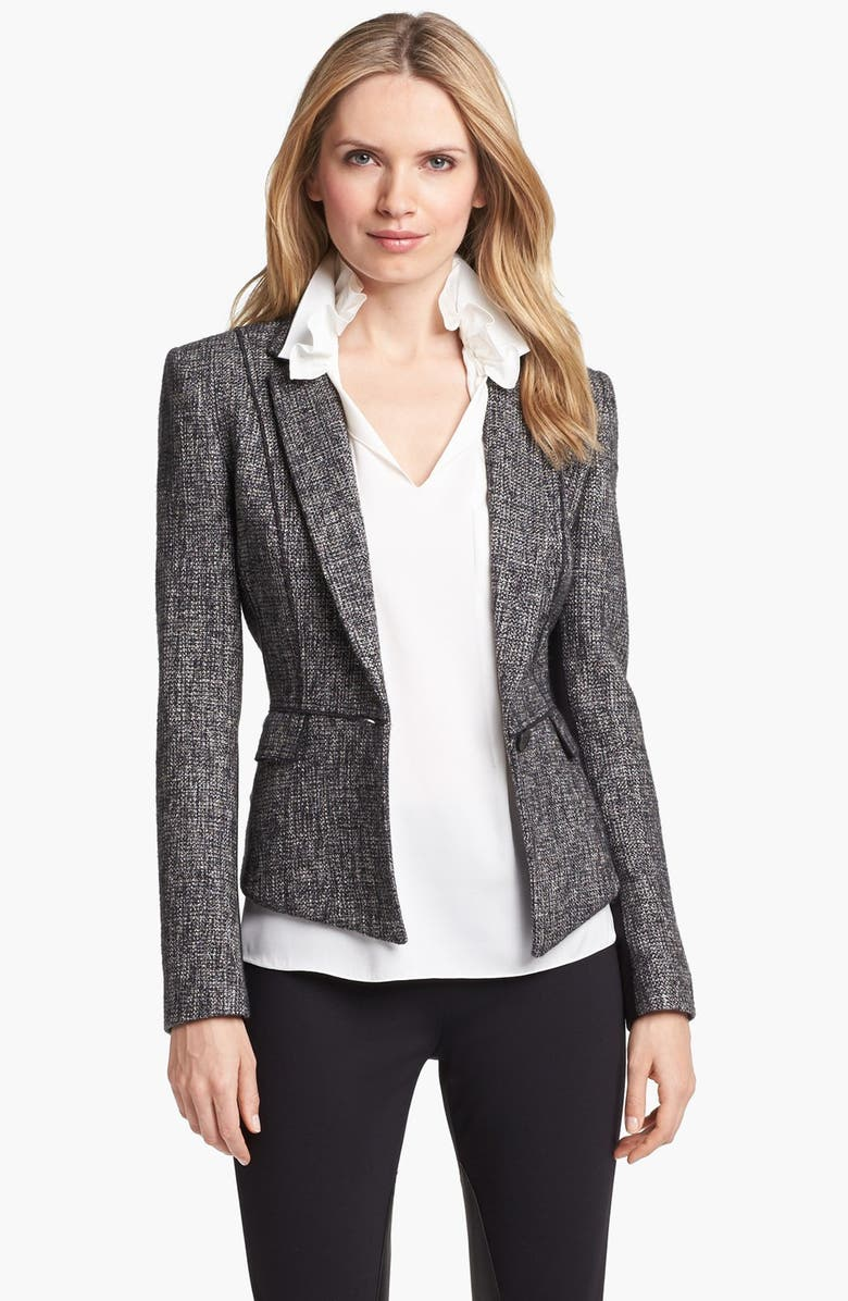 ELIE TAHARI 'Minka' Metallic Tweed Jacket, Main, color, 002