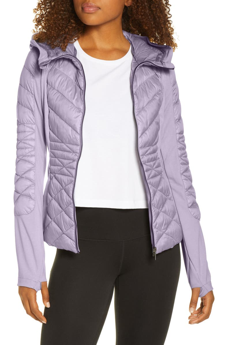 ZELLA Quilted Performance Jacket, Main, color, GREY DAPPLE