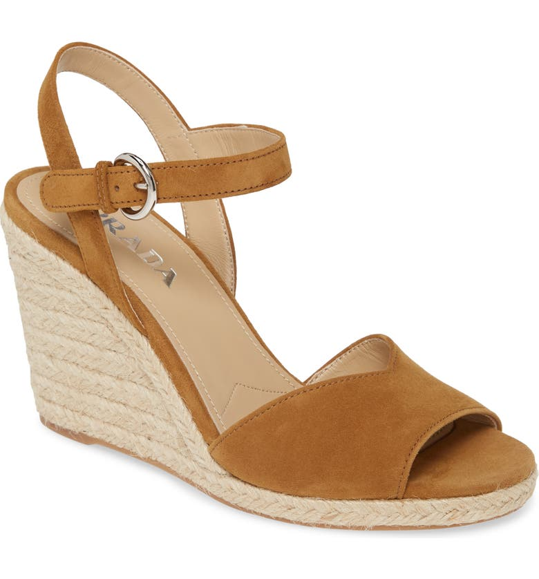 PRADA Raffia Wedge Sandal, Main, color, TAN SUEDE