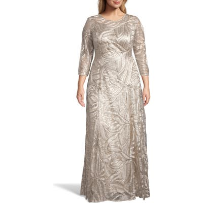 Plus Size Tahari Embellished A-Line Gown, Beige