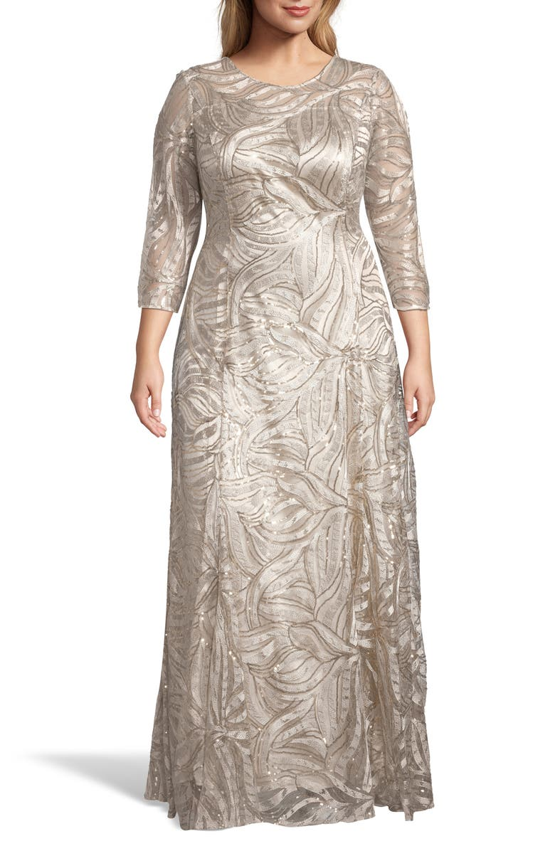 TAHARI Embellished A-Line Gown, Main, color, CHAMPAGNE/ GOLD
