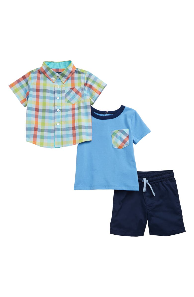 ANDY & EVAN Plaid Shirt, T-Shirt & Shorts Set, Main, color, LBE-LIGHT BLUE