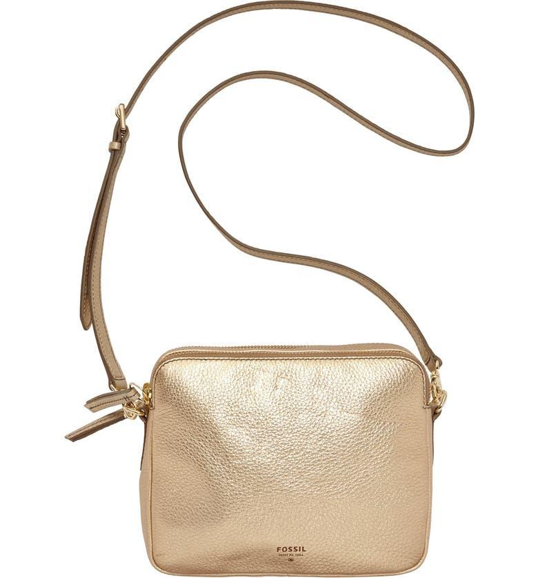 FOSSIL 'Sydney' Metallic Leather Crossbody Bag, Main, color, 710