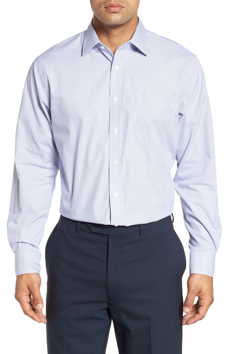 NORDSTROM MEN'S SHOP Traditional Fit Non-Iron Stripe Dress Shirt, Main, color, NAVY PATRIOT
