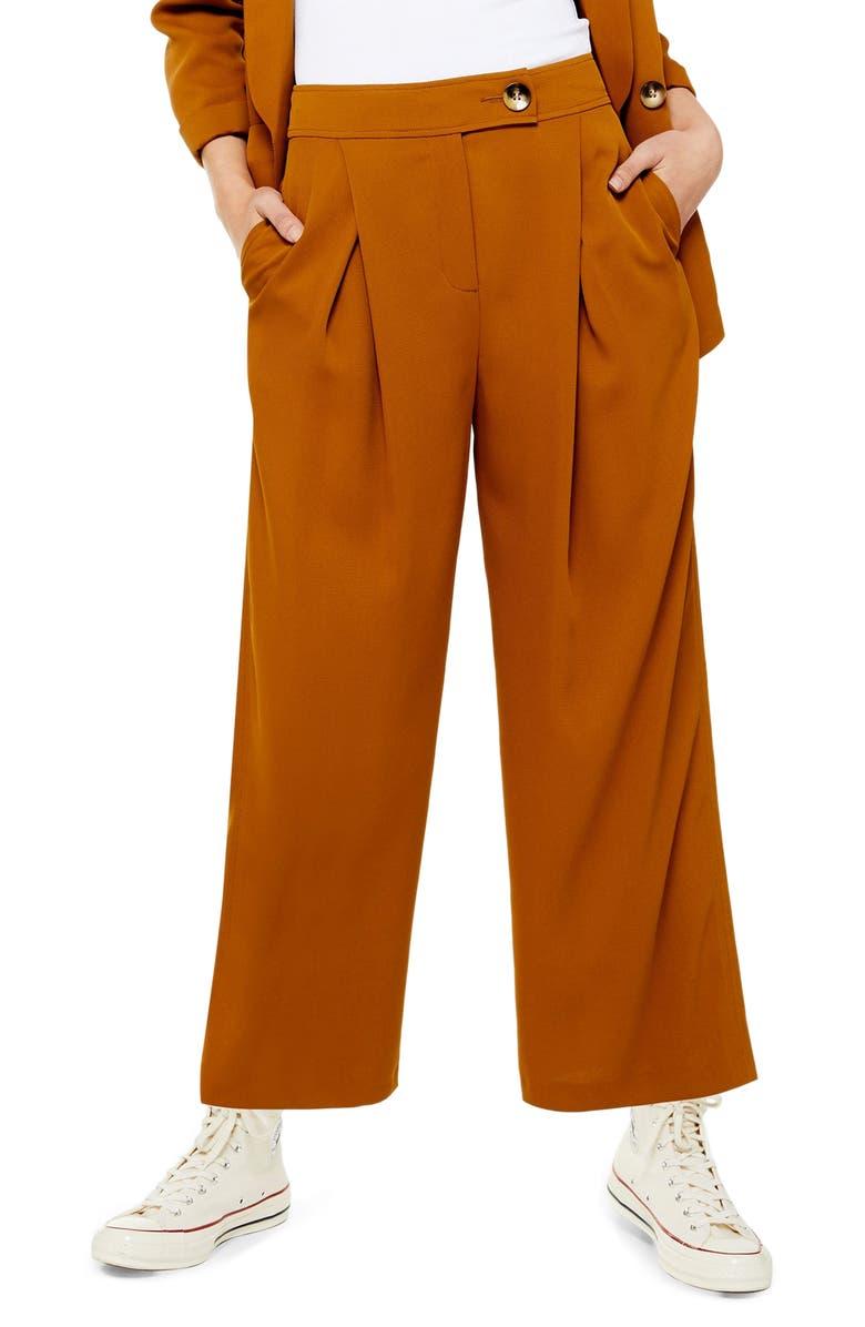 TOPSHOP Geeta Crop Wide Leg Pants, Main, color, TAN