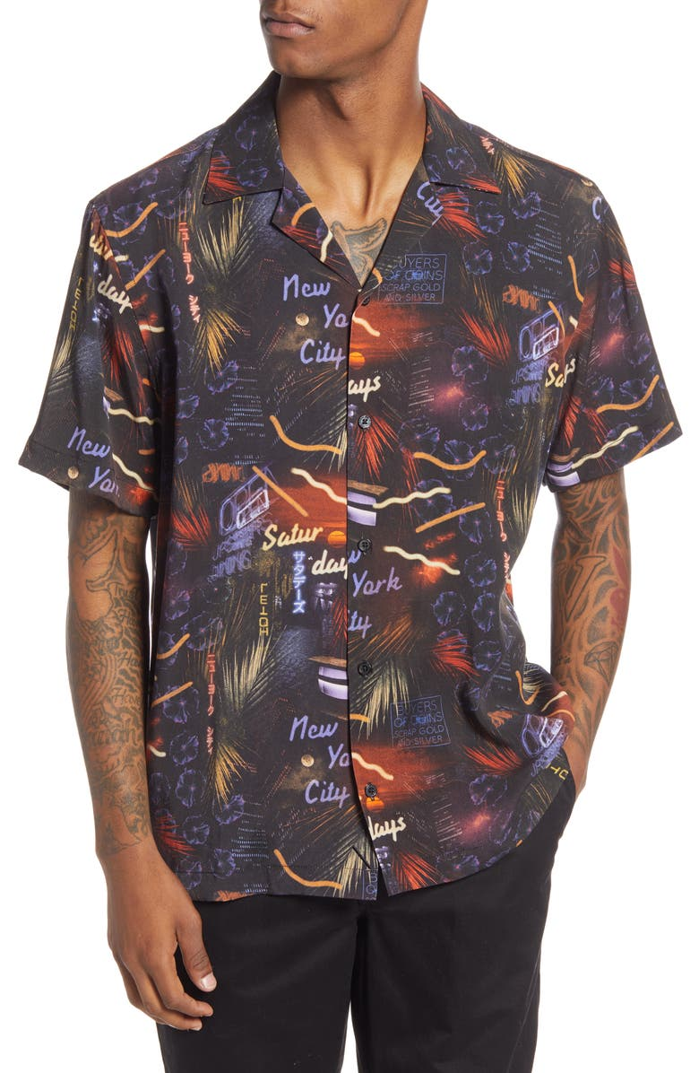 SATURDAYS NYC Canty Midnight Paradise Short Sleeve Button-Up Camp Shirt, Main, color, MIDNIGHT PARADISE PRINT