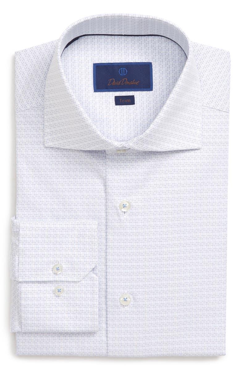 DAVID DONAHUE Trim Fit Check Dress Shirt, Main, color, SKY/ PURPLE