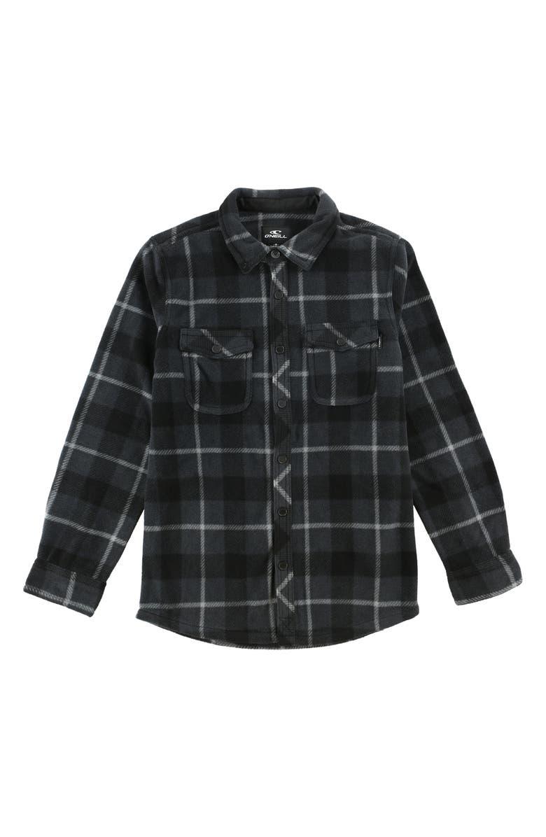 O'NEILL Glacier Plaid Shirt, Main, color, ASPHALT