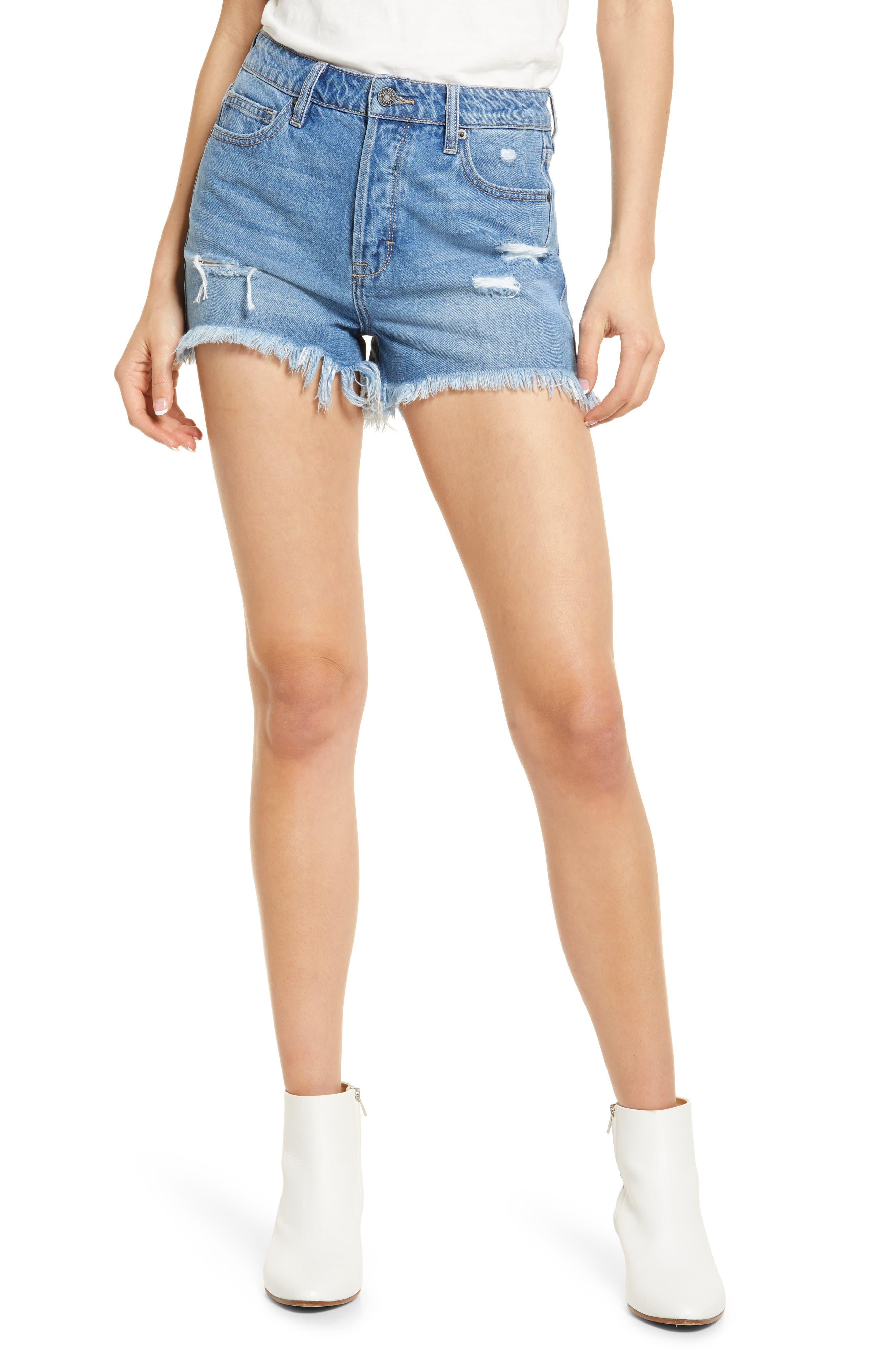 Grinded High Waist Denim Mom Shorts