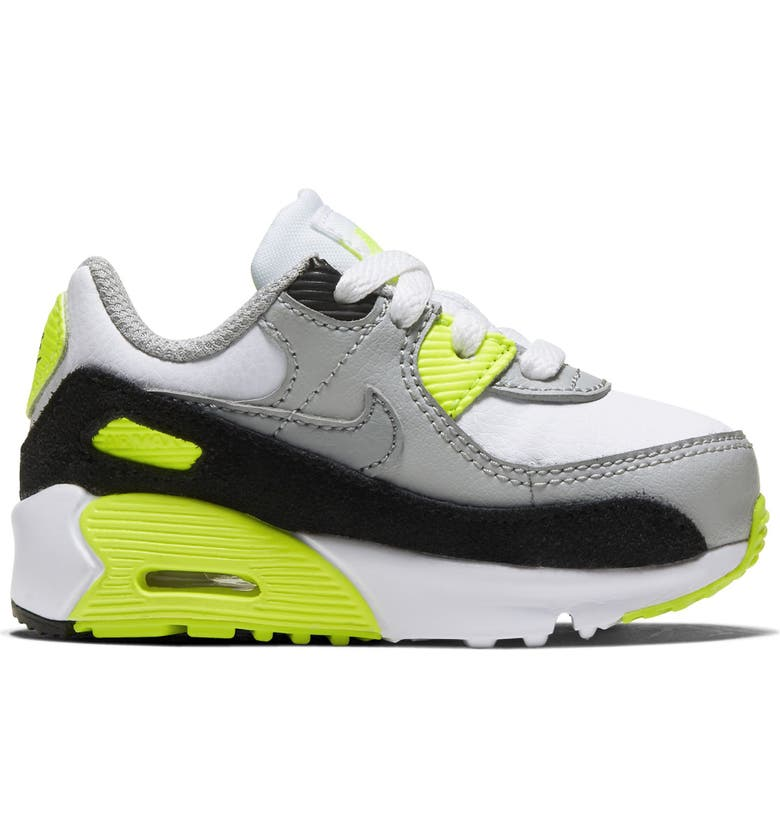 NIKE Air Max 90 Sneaker, Main, color, WHITE/ PARTICLE GREY/ VOLT