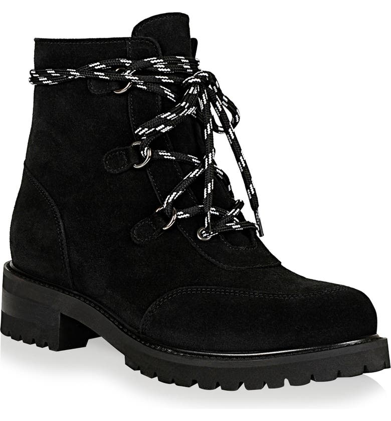 LA CANADIENNE Charm Genuine Shearling Lined Waterproof Boot, Main, color, BLACK SUEDE