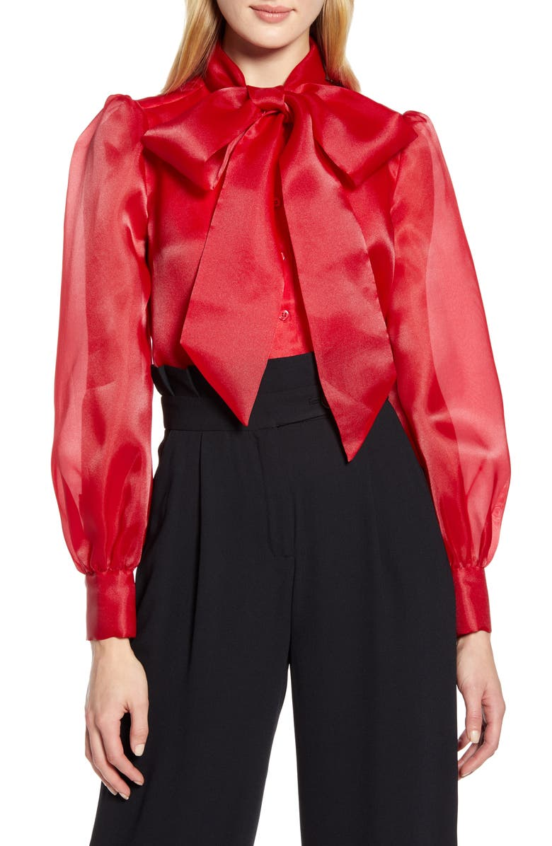 HALOGEN<SUP>®</SUP> x Atlantic-Pacific Bow Collar Blouse, Main, color, RED CHILI