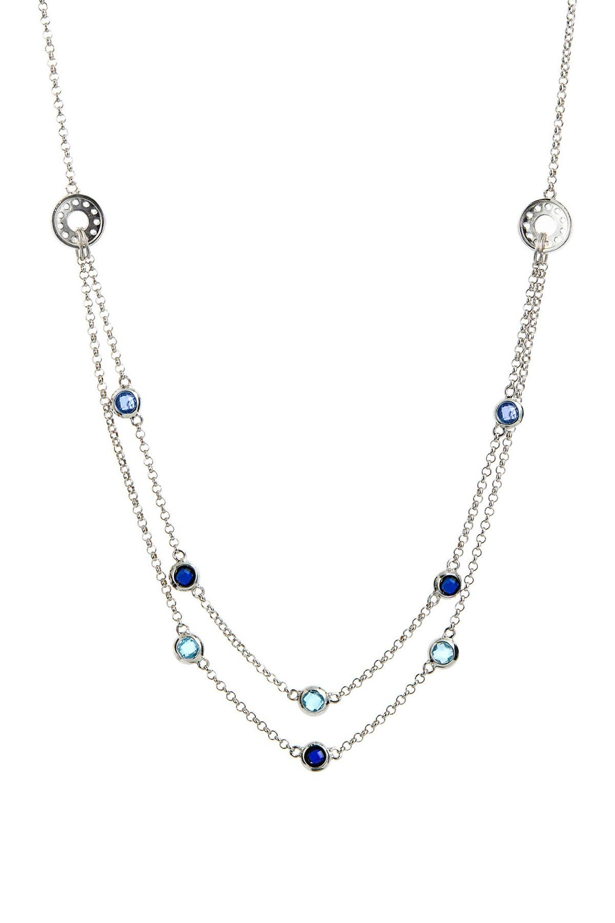 Image of Savvy Cie Sterling Silver Gemstone Necklace