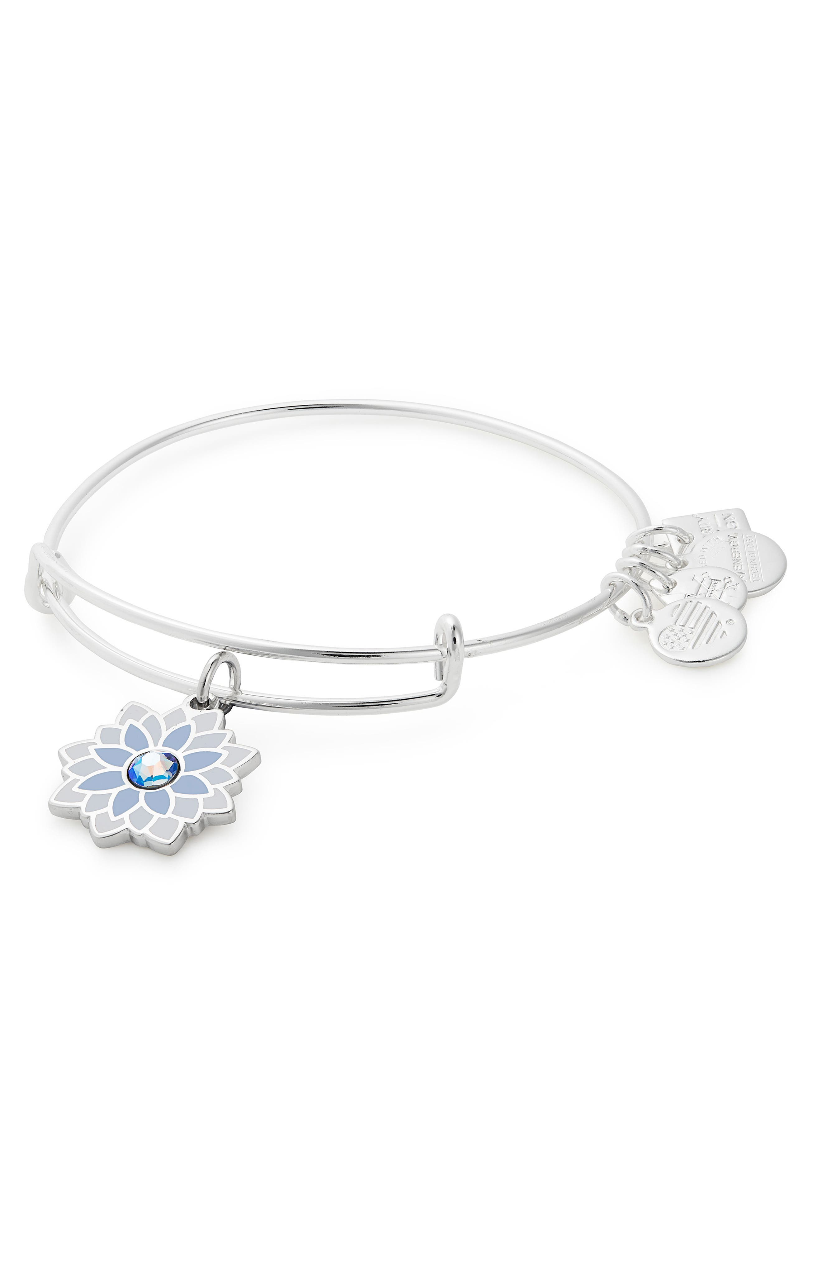 Water Lily Adjustable Wire Bangle, Main, color, SILVER