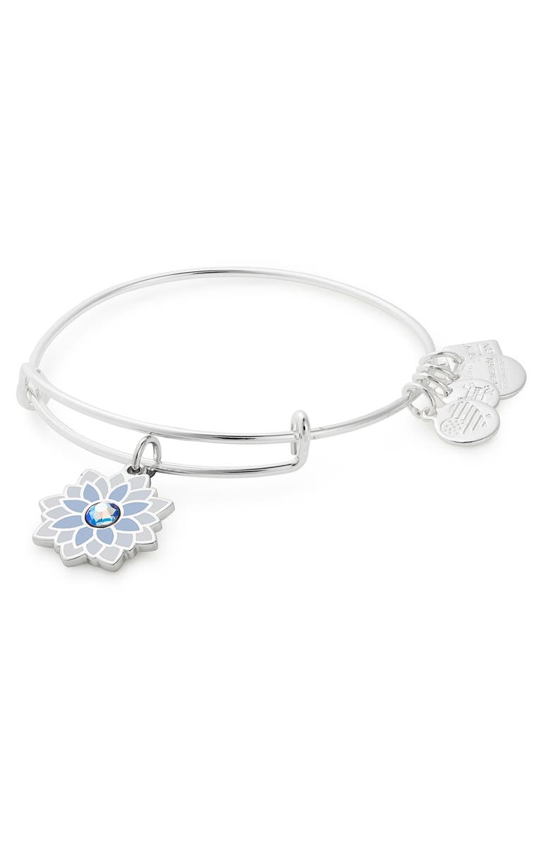 ALEX AND ANI Water Lily Adjustable Wire Bangle, Main, color, SILVER