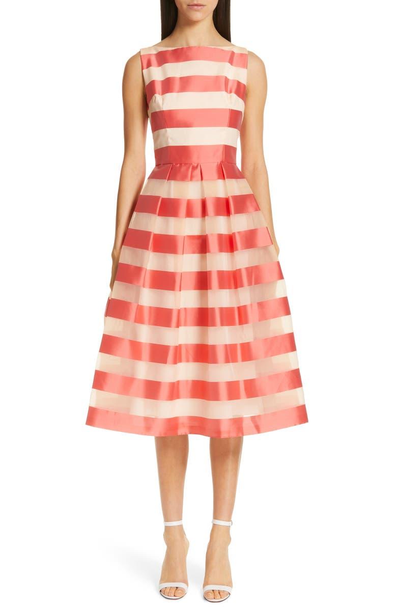 LELA ROSE Boatneck Stripe Organza Dress, Main, color, 950
