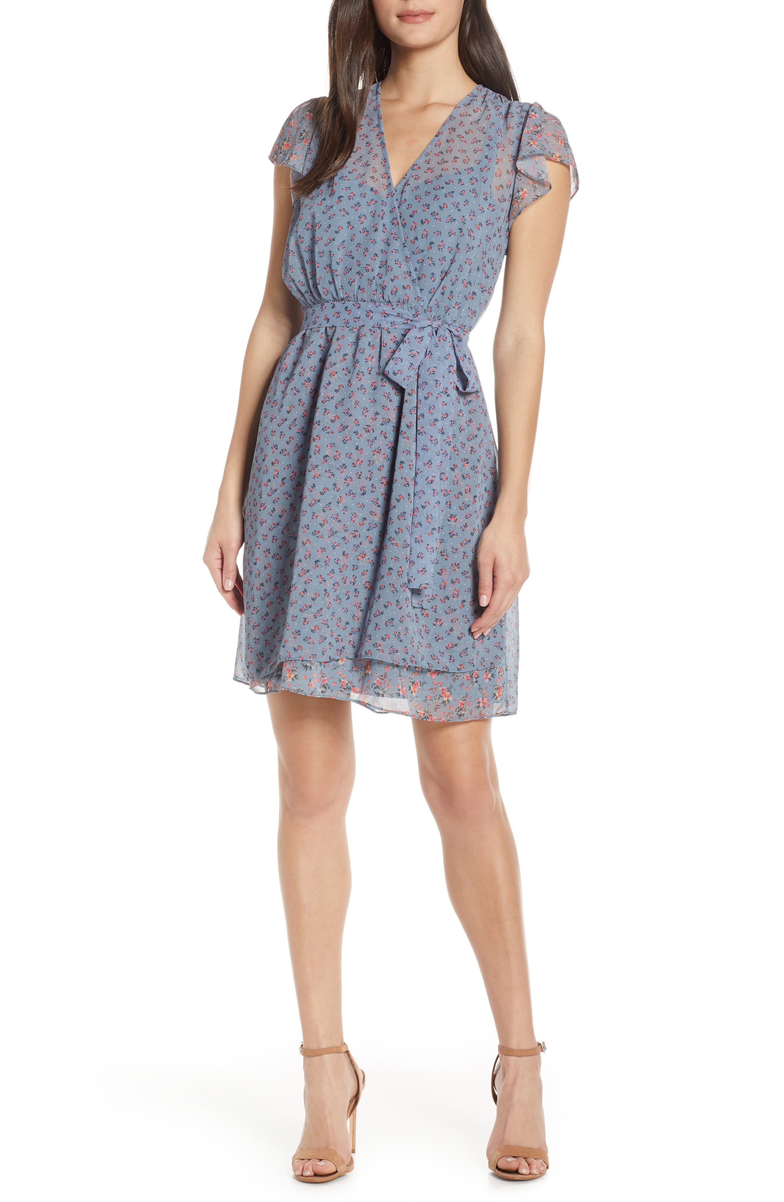 French Connection Celestia Sheer Wrap Dress, Blue
