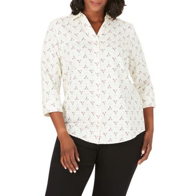 Plus Size Foxcroft Mary Martini Time Print Wrinkle-Free Shirt, Ivory