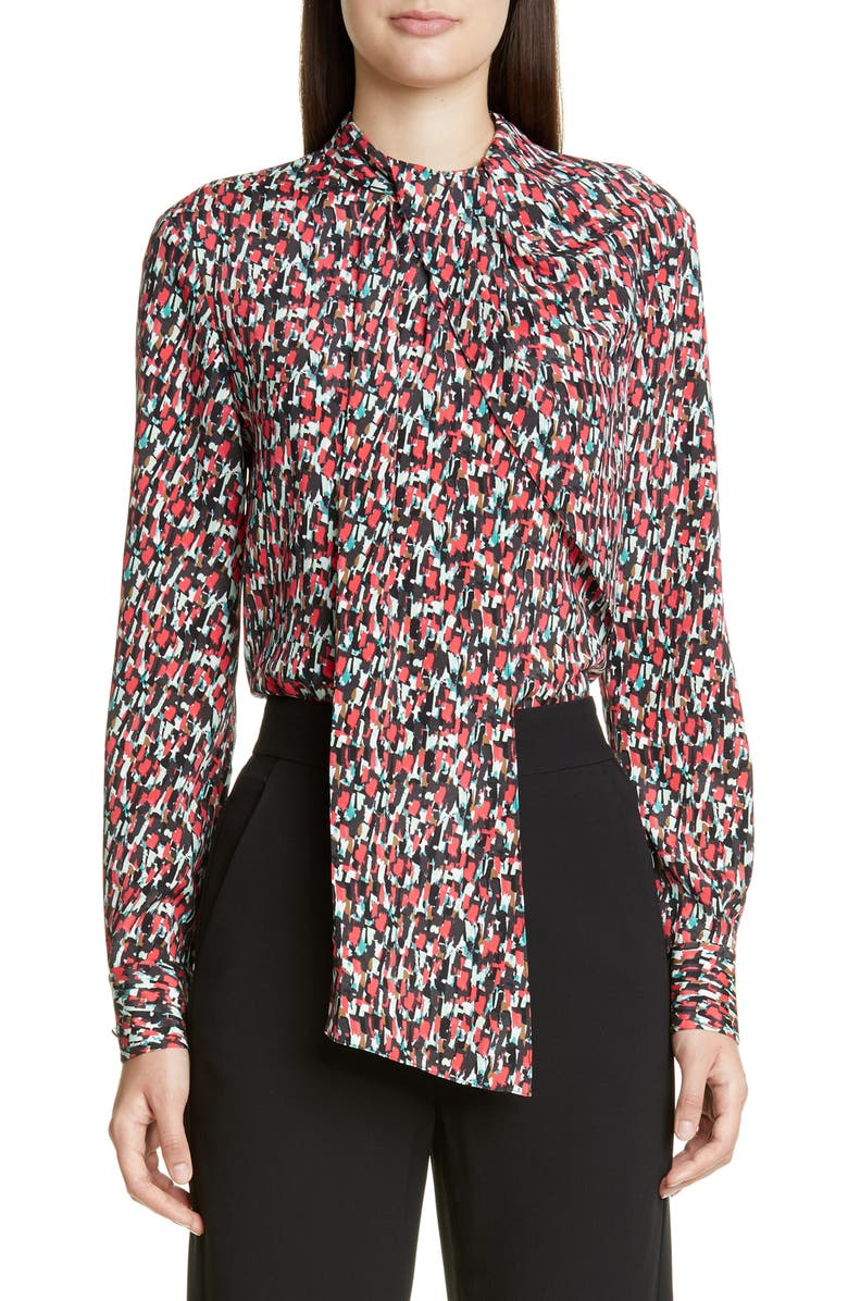 ST. JOHN COLLECTION Speckled Print Stretch Crepe Blouse, Main, color, SCARLET MULTI