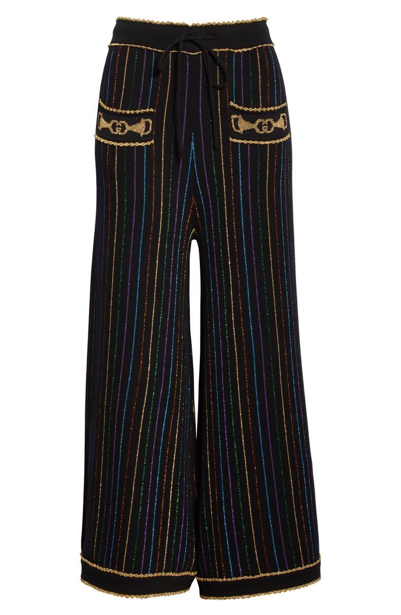 GUCCI Metallic Stripe Jacquard Wool Sweater Pants, Main, color, BLACK/ MULTICOLOR